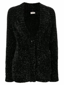 Saint Laurent metallic v-neck cardigan - Black