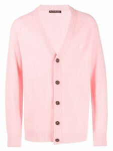 Acne Studios face patch v-neck cardigan - PINK