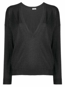 Brunello Cucinelli lamé V-neck sweater - Black
