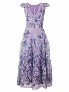 Marchesa Notte floral A-line dress - Purple