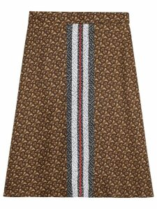 Burberry Monogram Stripe Print Silk Skirt - Brown