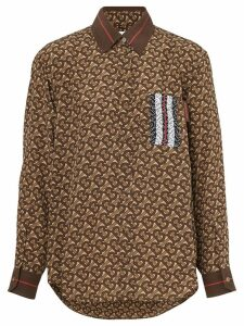 Burberry Monogram Stripe Print Silk Shirt - Brown