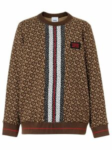 Burberry Monogram Stripe Print Cotton Oversized Sweatshirt - Brown