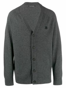 Acne Studios face patch v-neck cardigan - Grey