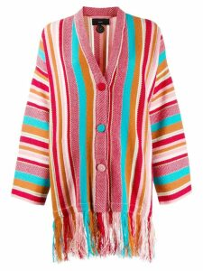 Alanui striped fringe cardigan - Red