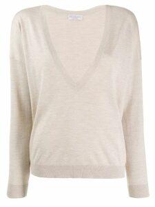 Brunello Cucinelli lamé V-neck sweater - Neutrals