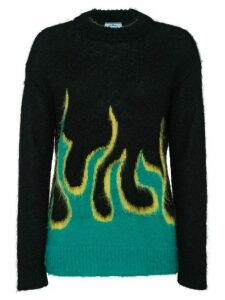 Prada flame intarsia sweater - Black