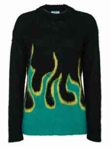 Prada flame intarsia sweater - Black