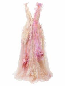 Marchesa frill tulle sleeveless gown - Multicolour