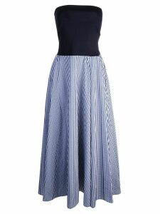 Adeam bandeau with gingham dress - Blue