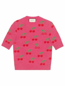 Gucci knitted top in wool with GG cherry jacquard - Pink