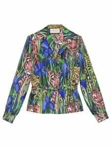 Gucci Silk shirt with Feline Garden print - Green