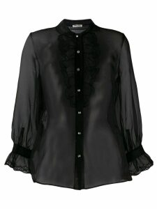Miu Miu sheer ruffle blouse - Black