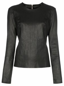 Helmut Lang zip-back leather top - Black