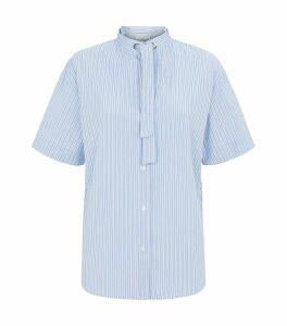 Tie Neck Poplin Shirt