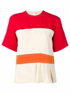 Marni colour block peplum top - White