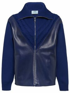 Prada leather panel cardigan - Blue