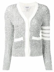 Thom Browne striped sleeve bouclé knit cardigan - Grey