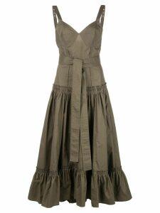 Proenza Schouler Sleeveless Tiered Cotton Poplin Dress - Brown