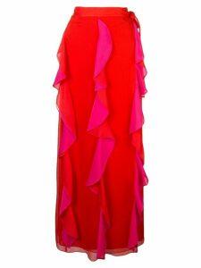 DVF Diane von Furstenberg ruffle maxi skirt - PINK