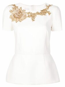 Marchesa structured embroidered blouse - White