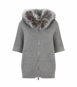 Fur Hooded Zip Cardigan