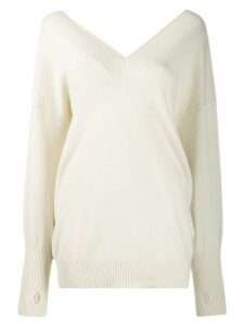 Tom Ford oversized v-neck jumper - NEUTRALS