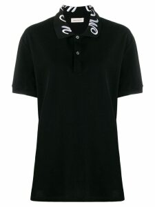 Alexander McQueen collar embroidered polo top - Black