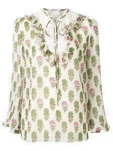 Giambattista Valli floral ruffle blouse - NEUTRALS