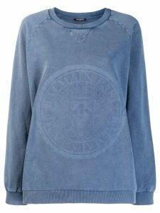 Balmain logo stamp sweatshirt - Blue
