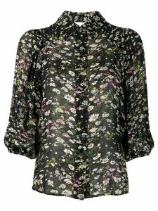 GANNI floral print sheer shirt - Black