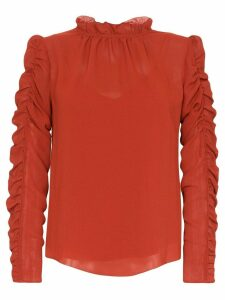 See By Chloé ruffle-neck ruched blouse - Red