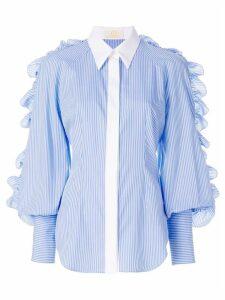Sara Battaglia ruffle trim striped shirt - Blue