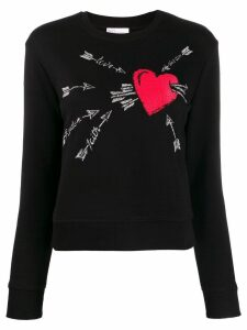 Red Valentino embroidered love heart sweater - Black