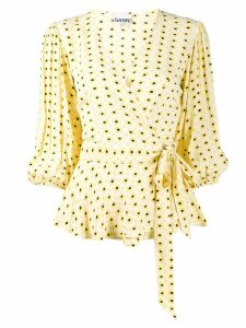 Ganni floral print wrap blouse - Yellow