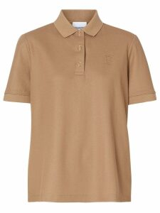 Burberry Monogram Motif Cotton Piqué Polo Shirt - NEUTRALS