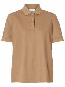 Burberry Monogram Motif Cotton Piqué Polo Shirt - NEUTRALS