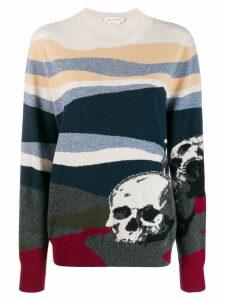 Alexander McQueen skull motif knit jumper - Blue