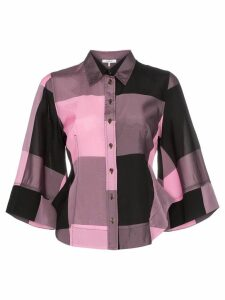 GANNI large check shirt - PINK