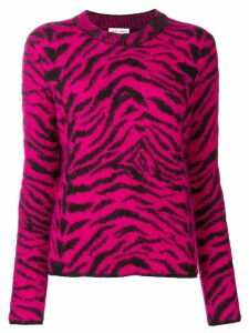 Saint Laurent Zebra intarsia jumper - PINK