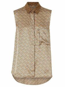 Burberry Sleeveless Two-tone Monogram Print Silk Satin Shirt -