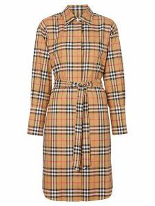 Burberry Vintage Check Cotton Tie-waist Shirt Dress - NEUTRALS