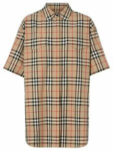 Burberry Short-sleeve Vintage Check Cotton Oversized Shirt - Neutrals