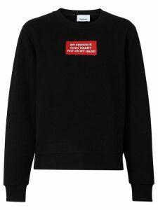 Burberry Quote Print Cotton Sweatshirt - Black