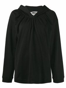 Mm6 Maison Margiela ruched hoodie - Black