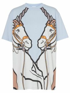 Burberry Unicorn Print Cotton Oversized T-shirt - Blue