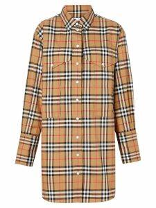 Burberry Vintage Check Cotton Oversized Shirt - NEUTRALS