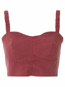 Framed Linen cropped top - Red