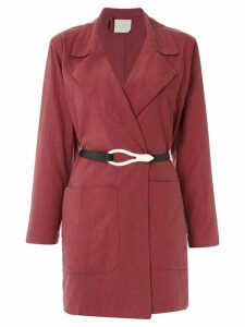 Framed Linen coat - Red