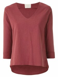 Framed linen long sleeved top - Red